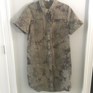 ZOLA Army Green Shirt Dress Loose Fit Size L